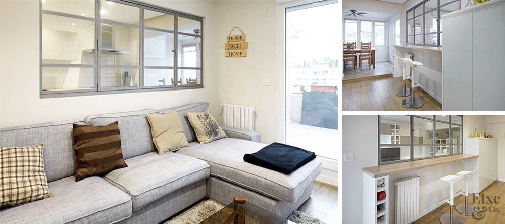 Casas que se adaptan a los nuevos tiempos blog etxe co - Cocina salon separados cristal ...