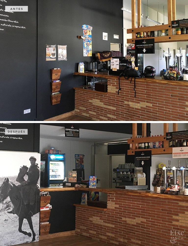 Antes y después en la obra del asado Bugati. Zona interior de la barra.