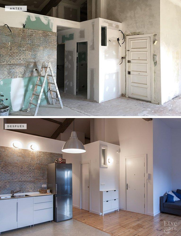 Antes y después de la reforma de la cocina en la vivienda de Ulia, San Sebastián.